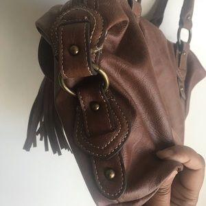 Chaps Bags - Chaps Brown Bag Purse Horse Bit Brass Clasp